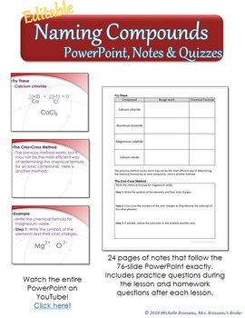 Naming Compounds Bundle - Spinner, Puzzle, PowerPoint, Notes & Quizzes