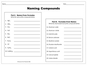 naming compounds worksheet for review or assessment by science from the south. Black Bedroom Furniture Sets. Home Design Ideas