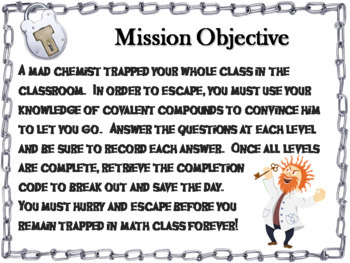 Naming Covalent Compounds: Chemistry Escape Room - Science