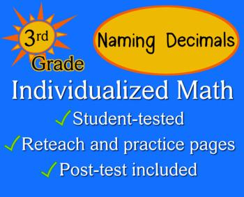Naming Decimals, 3rd grade - Individualized Math - worksheets