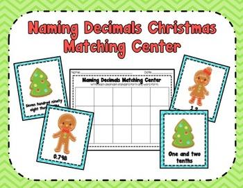 Naming Decimals Christmas Center