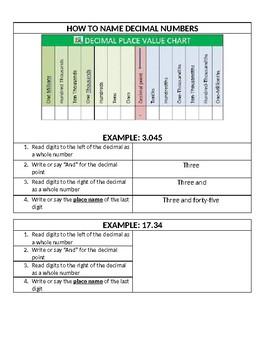 Naming Decimals Interactive Notebook and Practice Sheets