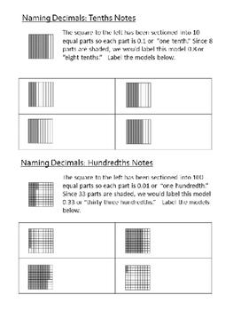 Decimals Notes , Practice, and Quiz