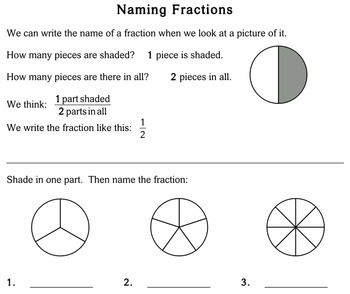 Naming Fractions, 2nd grade - Individualized Math - worksheets