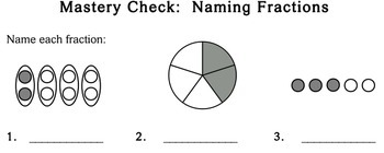 Naming Fractions, 2nd grade - worksheets - Individualized Math