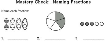 Naming Fractions, 3rd grade - Individualized Math - worksheets