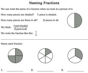 Naming Fractions, 4th grade - Individualized Math - worksheets