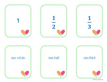 Naming Fractions Matching Cards