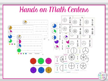 Fraction Math Centers Hands On and Worksheets