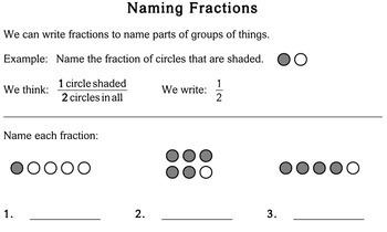 Naming Fractions, multi-grade - Individualized Math - worksheets