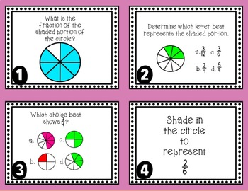Naming, Identifying, and Modeling Fractions Task Cards