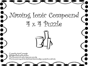 Naming Ionic Compounds 4 x 4 Puzzle