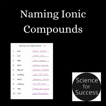 Naming Ionic Compounds Practice Questions with Key - Editable