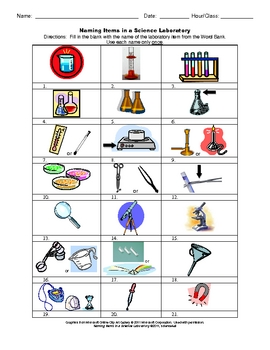 naming items in a science laboratory worksheet by science4all tpt. Black Bedroom Furniture Sets. Home Design Ideas