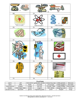 Naming Items in a Science Laboratory Worksheet