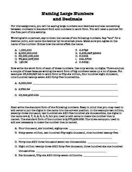 Naming Large Numbers and Decimals Classwork/Homework