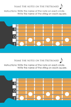 Naming Notes on the Guitar Fret board Worksheet