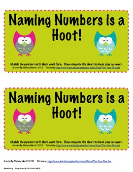 Naming Numbers is a Hoot!