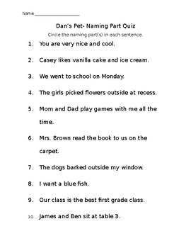 Naming Part Quiz