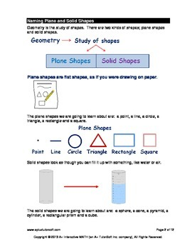 Naming Plane and Solid Shapes (lesson and a worksheet)