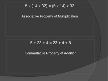 Naming Properties of Addition and Multiplication