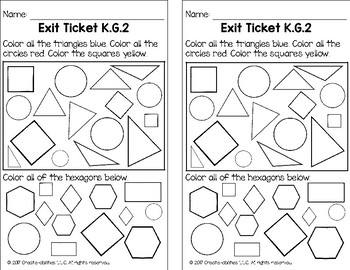 Naming Shapes Math Tasks and Exit Tickets