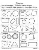 FREEBIE Naming Shapes for Kindergarten -  Parent Letter and Handout