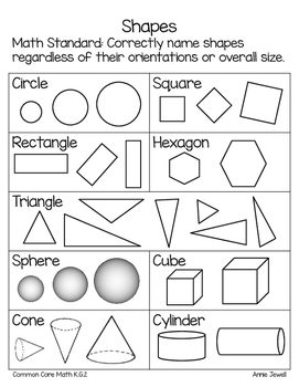 FREEBIE Naming Shapes for Kindergarten Parent Letter and Handout
