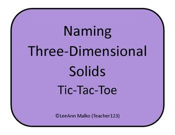 Naming Three-Dimensional Solids Tic-Tac-Toe