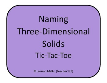 Naming Three-Dimensional Solids Tic-Tac-Toe