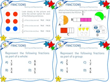Naming and Representing Fractions Task Cards  - US Spelling
