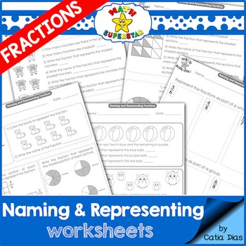 Naming and Representing Fractions Worksheets - USA Spelling