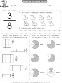naming and representing fractions worksheets  usa spelling  tpt naming and representing fractions worksheets  usa spelling