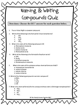 Naming and Writing Compounds Quiz (Basic)