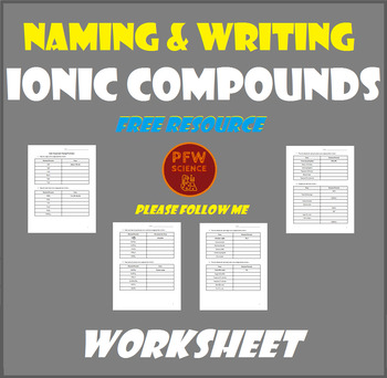 Naming and Writing Ionic Compounds Worksheet