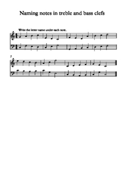 Naming notes in treble and bass clefs