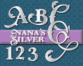 "Nana's Silver Tray Alphabet -  150 DPI - PDF/ PNGs - 3.5"" High - Vector"