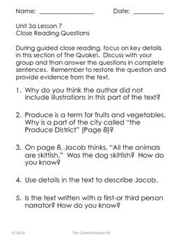 The Quake 3a Lesson 7 Close Reading Questions