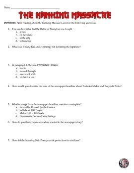 Nanking Massacre Reading and Worksheet