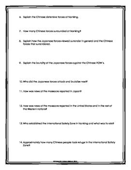Nanking Massacre - Webquest with Key
