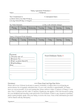 Nanny to family agreement form