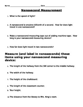 Light: Nanosecond Measurement