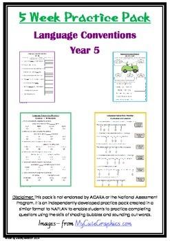 Naplan 5 week Language Conventions practice pack - Grade 5