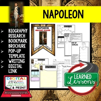 Napoleon Biography Research, Bookmark Brochure, Pop-Up Writing Google