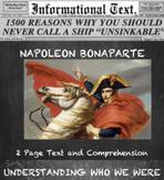 Napoleon Bonaparte--Informational Text Worksheet