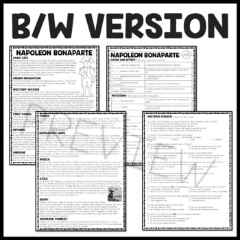 napoleon bonaparte french revolution reading comprehension worksheet. Black Bedroom Furniture Sets. Home Design Ideas