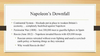 Napoleon Bonaparte PowerPoint, Guided Notes, and Completed Notes