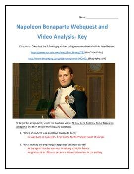 Napoleon Bonaparte- Webquest and Video Analysis with Key