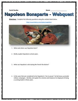 Napoleon Bonaparte - Webquest with Key (History.com)