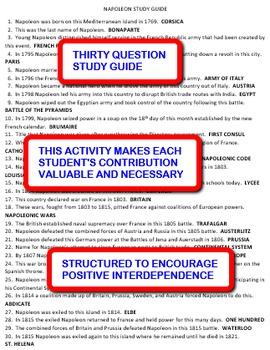 Napoleon: Interdependent Answer Sheets Activity